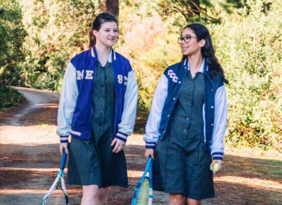 walking with tennis raquet